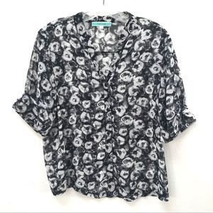 Pleione Black & Gray Abstract Print Blouse-S